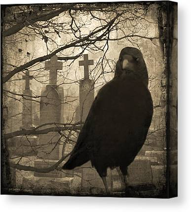 Ravens In Graveyard Canvas Prints