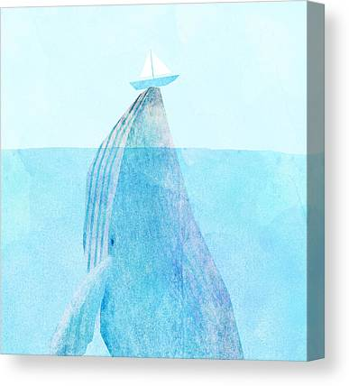 Blue Whales Canvas Prints