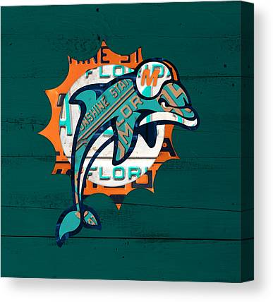 Dolphin Mixed Media Canvas Prints