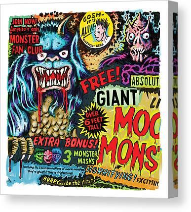 Horror Fantasy Movies Mixed Media Canvas Prints