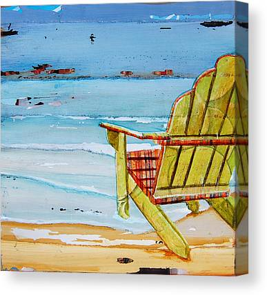 Beach Chair Mixed Media Canvas Prints