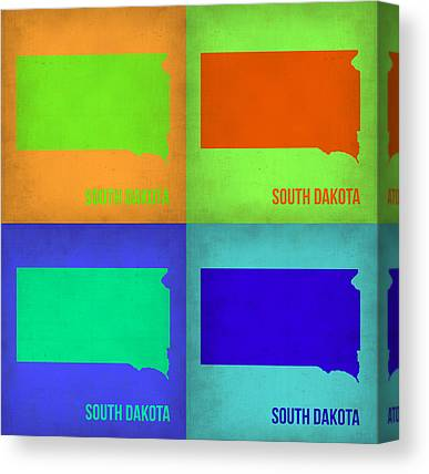 South Dakota Map Canvas Prints