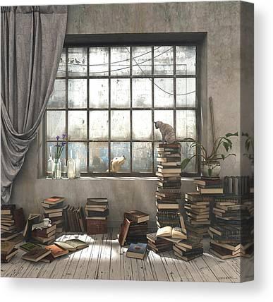 Reading Digital Art Canvas Prints