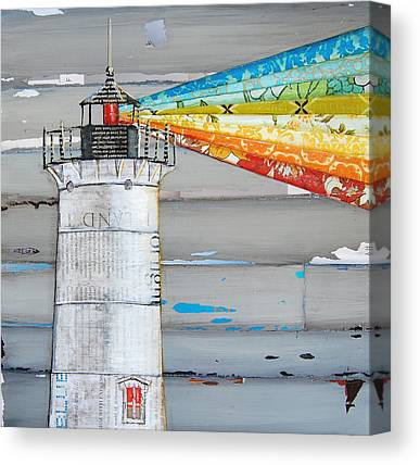 Nubble Lighthouse Mixed Media Canvas Prints
