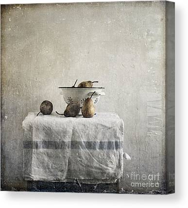 Pears Under Grunge Textures Canvas Prints