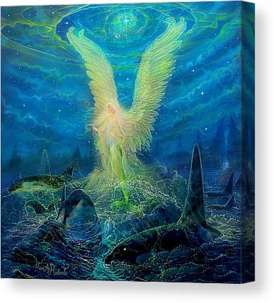 Angel Mermaids Ocean Paintings Canvas Prints