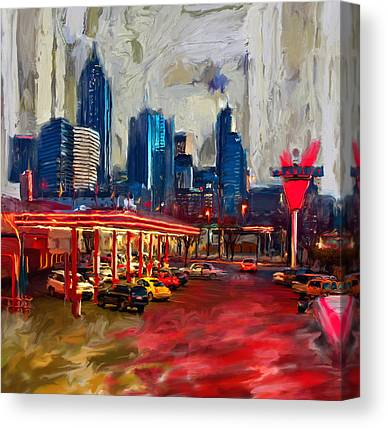 Dallas Skyline Paintings Canvas Prints