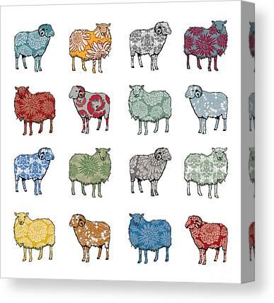 Sheep Digital Art Canvas Prints