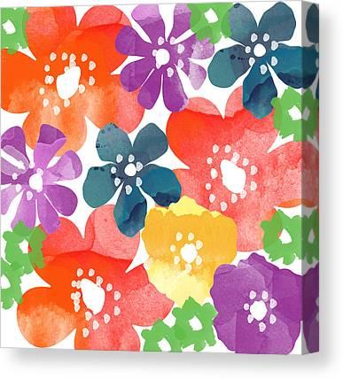 Flower Design Mixed Media Canvas Prints