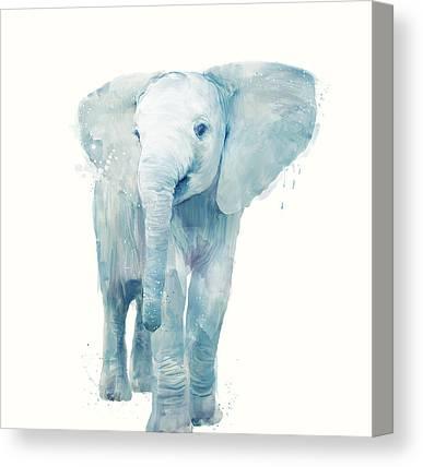 Elephants Mixed Media Canvas Prints