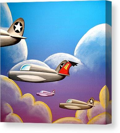 Blue Airplane Canvas Prints