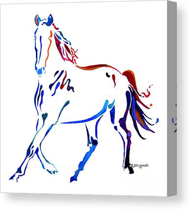 Running Horse Watercolor Paintings Canvas Prints