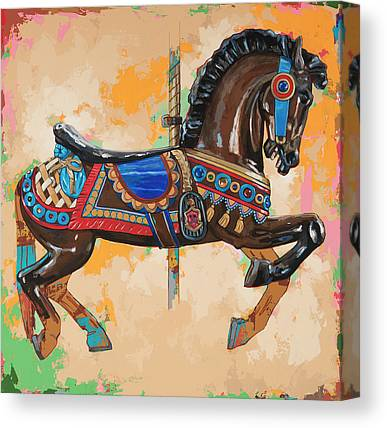 Carousel Horse Paintings Canvas Prints