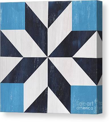 Quilt Blue Blocks Canvas Prints