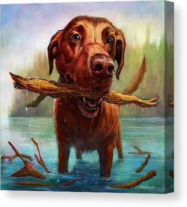 Chocolate Labrador Retriever Digital Art Canvas Prints