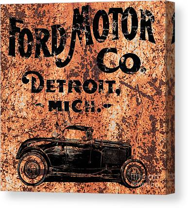 Rusted Cars Drawings Canvas Prints