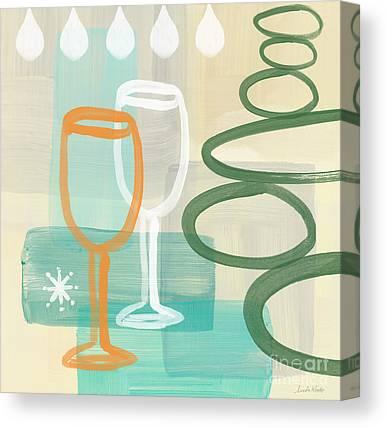 Wine Glasses Mixed Media Canvas Prints