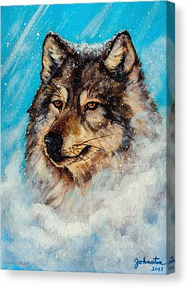 Dog In Snow Mixed Media Canvas Prints