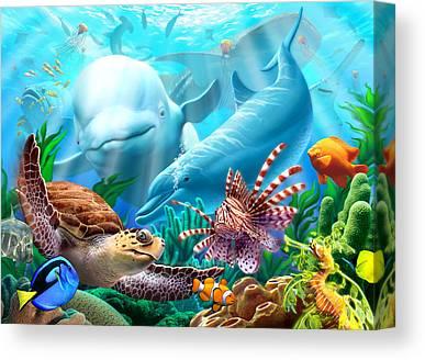 Sea Lions Canvas Prints