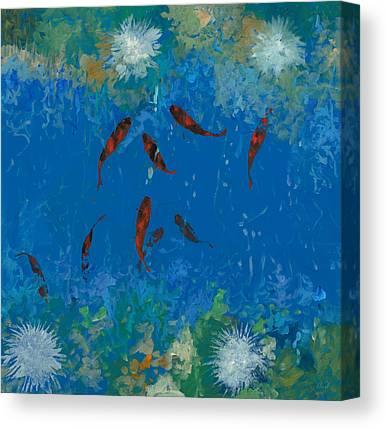 Koi Fish Pond Canvas Prints