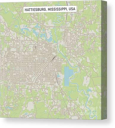 Hattiesburg Map Hattiesburg Map Print Mississippi Map Art Vintage Gift Map Hattiesburg City Road Map Poster