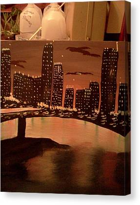 Landscape. Of City At Night And A Bridge Canvas Prints