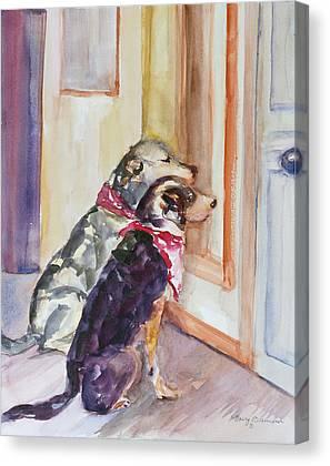 Dog At Door Mixed Media Canvas Prints