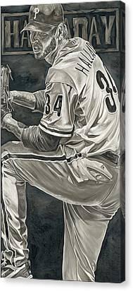 Roy Halladay Philadelphia Phillies Pitcher Baseball David Courson Art Canvas Prints