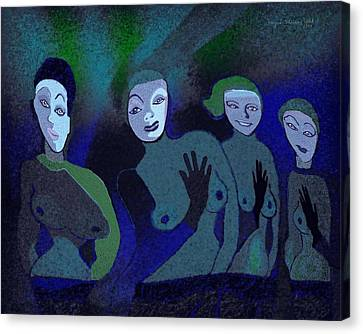 155 - Blue Ladies -1- Canvas Print by Irmgard Schoendorf Welch