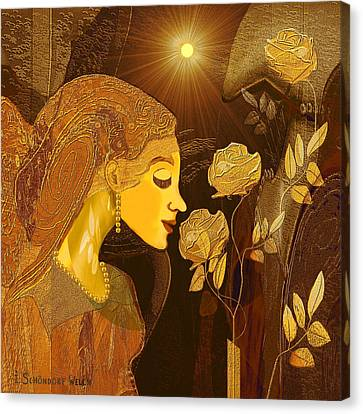171 - Woman With Golden Roses     Canvas Print by Irmgard Schoendorf Welch