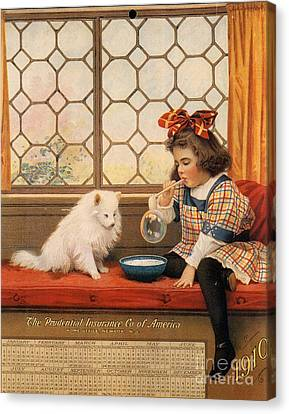 1910s Usa Dogs Prudential Insurance Canvas Print by The Advertising Archives