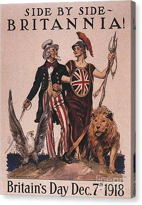 1918 1910s Usa Uncle Sam Ww1  Lions Canvas Print by The Advertising Archives