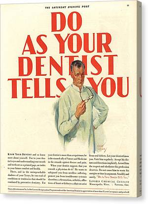 1920s Usa Dentists Lavoris Canvas Print by The Advertising Archives