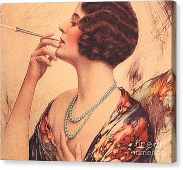 Women Canvas Print -  1920s Usa Women Cigarettes Holders by The Advertising Archives