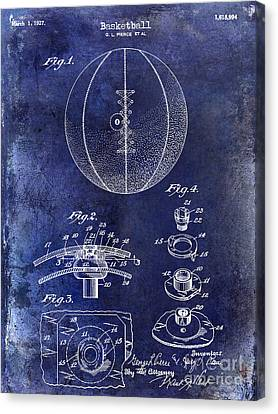 Nba Drawings Canvas Print -  1927 Basketball Patent Drawing Blue by Jon Neidert