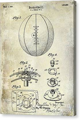 Tennis Shoe Canvas Print -  1927 Basketball Patent Drawing by Jon Neidert