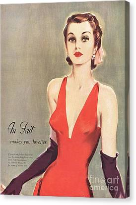 1940s Uk Au Fait Womens Dresses Gloves Canvas Print by The Advertising Archives