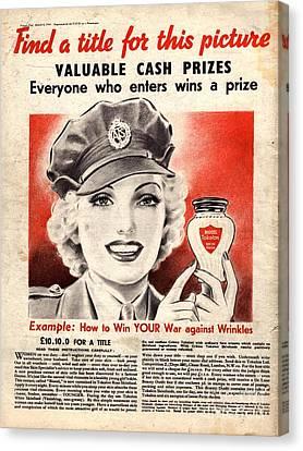 1940s Uk Skin Care Antiageing Anti Canvas Print