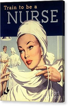 1950s Uk Nurses Hospitals Medical Canvas Print by The Advertising Archives