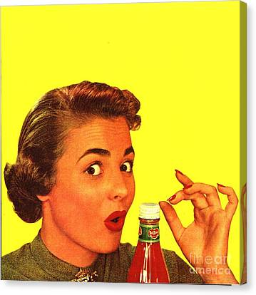 1950s Usa Catsup Tomato Sauce Lids Mrs Canvas Print by The Advertising Archives
