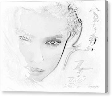 # 25 Adriana Lima Portrait Canvas Print by Alan Armstrong