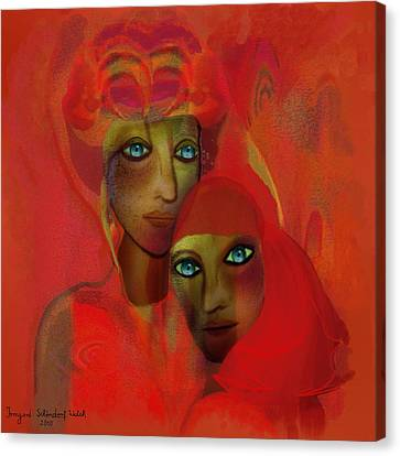 260 - Women In Red ... Canvas Print by Irmgard Schoendorf Welch