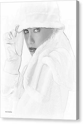 # 3 Adriana Lima Portrait. Canvas Print by Alan Armstrong
