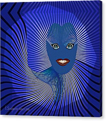 383 - Happy Blue Little  Monster   Face Canvas Print by Irmgard Schoendorf Welch