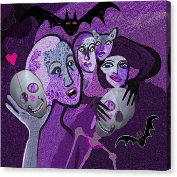 524 - Skull And Friends Canvas Print by Irmgard Schoendorf Welch