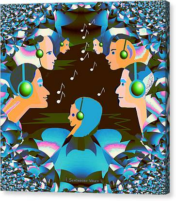 688 - Listen To The Music Canvas Print by Irmgard Schoendorf Welch