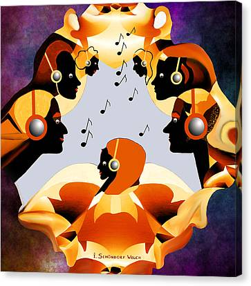 693 -  Listen  To  Music   Canvas Print by Irmgard Schoendorf Welch