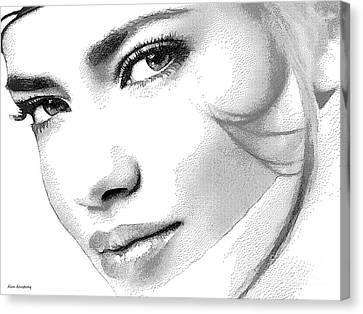 # 6 Adriana Lima Portrait. Canvas Print by Alan Armstrong