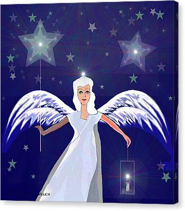 806 -  Christmas Angel  With  Lantern  Canvas Print by Irmgard Schoendorf Welch