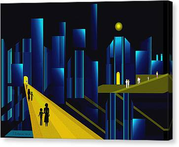 955 -  Moonlit City    Canvas Print by Irmgard Schoendorf Welch